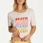 Billabong Womens Beach Please Short Sleeve T-Shirt-Peach Kiss-S