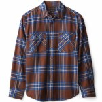 Brixton Mens Bowery X Flannel Long Sleeve Button-Up-Washed Brown/Mineral Blue-S