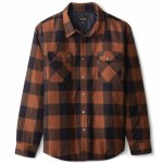 Brixton Mens Bowery Lined Flannel Long Sleeve Button-Up-Navy/Copper-S