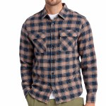Brixton Mens Bowery LW X Flannel Long Sleeve Button-Up-Pine Bark-S