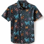 Brixton Mens BB Bloom Woven Short Sleeve Button-Up-Black-S
