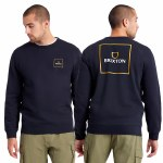 Brixton Mens Alpha Square Crew  Sweatshirt-Black-M