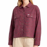 Brixton Womens Bowery W LW Flannel Long Sleeve Button-Up-Cowhide-XS