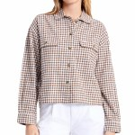 Brixton Womens Bowery W LW Flannel Long Sleeve Button-Up-Toffee-S