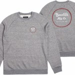Brixton Wheeler Crew Fleece Standard Fit Sweater-Heather Grey/Brick-L