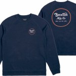 Brixton Wheeler Crew Fleece-Navy/Orange-S