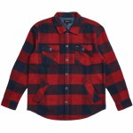 Brixton Mens Durham Flannel Long Sleeve Woven-Navy/Red-M