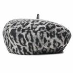 Brixton Womens Audrey Beret Hat-Aluminum/Black Leopard-M