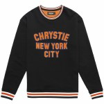 Chrystie NYC. Mens Varsity Crew Sweatshirt-Black-M