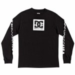 DC Mens Square Star HLS Long Sleeve T-Shirt-Black-S