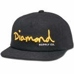 Diamond OG Script Unconstructed Snapback Hat-Black-OS