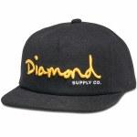 Diamond OG Script Unconstructed Snapback Hat-Black-OS