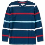 Diamond Paradise Stripe Long Sleeve Top-Navy-L