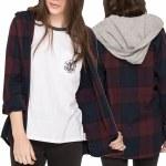 Eden Worn Long Sleeve Flex Flannel With Jersey Hood Womens-Napa Red-M