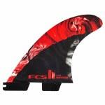 FCS  II MB PC Carbon Tri Surfboard Fin-Red-L