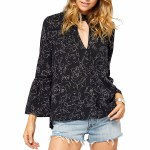 Gentle Fawn Jules Long Sleeve Top Womens-Black Camellia-XS