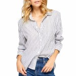Gentle Fawn Royce Long Sleeve Woven Shirt Womens-White Summer Stripe-S