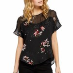 Gentle Fawn Roslyn Short Sleeve Top Womens-Black Flash Floral-M