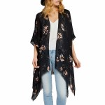 Gentle Fawn Gallery Kimono Womens-Black Flash Floral-OS