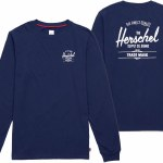 Herschel Long Sleeve T Shirt-Peacoat/White-XL