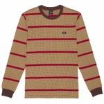 HUF Mens Houndstooth Stripe Knit Long Sleeve Top-Deep Mahodany-S