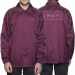 Huf Bar Logo Coach's Jacket-Burgundy-M