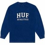 HUF Draft Acid Wash Long Sleeve T Shirt-Insignia Blue-M