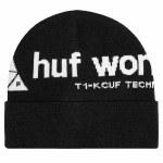 HUF Mens Peak Logo Beanie-Black-OS