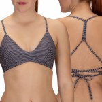Hurley Quick Dry Micro Stripe Surf Top Bikini-Black-L