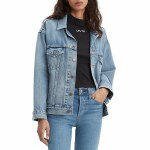 Levis Womens Dad Trucker Jacket-Indigo Anthem-S