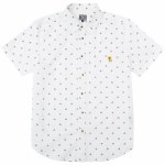 Loser Machine Mens Southside Woven Short Sleeve Button-Up-White-M