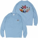 Magenta Shapes Plant Long Sleeve T-Shirt-Light Blue-S