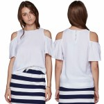 Minimum Eileen Short Sleeve Top Womens-White-38