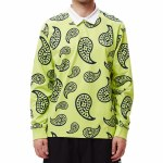 Obey Mens Dealer Ruby Polo Long Sleeve-Lime Multi-M