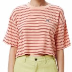 Obey Womens Gazer Box Top Short Sleeve T-Shirt-Peach Multi-S