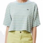 Obey Womens Gazer Box Top Short Sleeve T-Shirt-Light Blue Multi-M