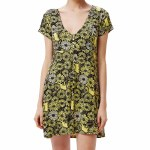 Obey Womens Pedal Dress-Yellow Multi-XS