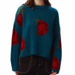 Obey Womens Rhyme Crew Sweater-Lake Blue Multi-M