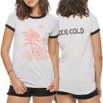 Obey Thrills Thrills Thrills Short Sleeve T Shirt Womens-Creme/Black-M
