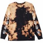 Obey The Creeper Tie Dye Long Sleeve T Shirt-Black-L
