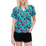 Obey Ashed Out Short Sleeve Shirt Womens-Teal Multi-XS