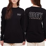 Obey Record Salvage Long Sleeve T Shirt Womens-Black-S