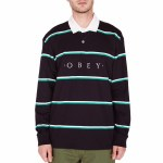 Obey Washer Classic Long Sleeve Polo-Black Multi-M