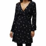 Obey Womens Miran Wrap Dress-Black Multi-M