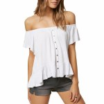 O'Neill Farrah Solid Top Womens-White-XS