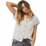 O'Neill Neena Plaid Short Sleeve Woven-White-XS