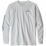 Patagonia Mens Text Responsibili Tee Long Sleeve T-Shirt-White/Stone Blue-L
