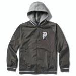 Primitive Mens Two Fer Varsity Jacket-Charcoal-S