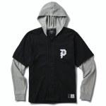 Primitive Mens Two Fer Baseball Short Sleeve Top-Black-S
