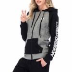 RDS Speed Lines Zip Hoody Womens-Grey/Black Heather-L